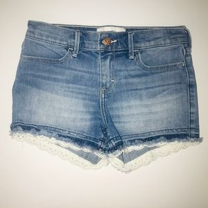 Abercrombie Kids FRINGED LACE Denim Shorts 13/14
